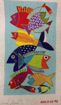Fishies needlepoint mid-century modern canvas