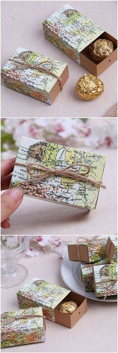 These simple travel themed destination wedding favors are so cute! Love that they have a map on them - It would be perfect if the map was of the wedding location!