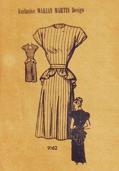 Vintage 1948 Marian Martin Dress Pattern 9162 by NostalgiaVintage2, $18.50