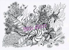 Coloring Pages - Adult coloring ZenZia made by BRI, Zentangles, zendoodle, Ausmalbilder, Vorlage Zentangles, coloring download, painting von BRIsaRt13 auf Etsy