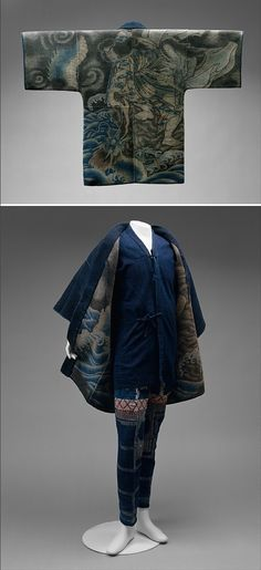 Japanese fireman's uniform ca. 1900 /   Surviving Japanese firemen's jackets of the Edo and Meiji periods often have boldly dye-patterned linings like this one. The heavy quilted jackets, worn wet, provided protection for the firefighters, and some scholars suggest that the often supernatural images on the linings were meant to add to his safety.