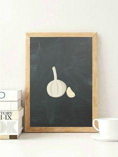 Garlic Kitchen Print Garlic Onion Print by VeganArtByTafida
