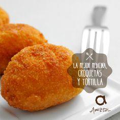 La mejor medicina, croquetas y tortilla. #RefranesAmeztoi #croquetas
