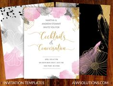 Party invitations, event invitation,save the date template, watercolour invitaion, pink and gold invitation, celebrity event card #PresentationFlyer #PhotographyBrochure #flyer #InvitationKit #InvitationTemplate #SaveTheDate #PartyInvitation #PhotographyFlyer #invitations #FlyerTemplate