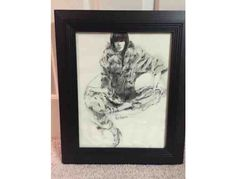 This auction is for a framed woman in charcoal and ink wash. The dimensions are 22 x 26. Richard Holiman is a retired, nationally recognized illustrator who worked freelance, as well as for Vogue, Lord & Taylor, Neiman-Marcus. His work is include...