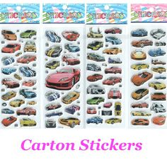 4pcs/lot Cars Cartoon Stickers for Boys and Girls Decorative Cool Famorous Cars Beautiful  Foam Gift Develop Intelligence #ST017 #>=#>=#>=#>=#> Click on the pin to check out discount price, color, size, shipping, etc. Save and like it!