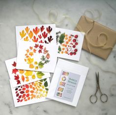 Autumn leaves card set  note cards stationery set by BottleBranch