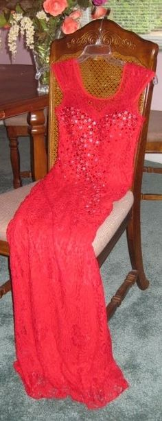 Too Hot! Custom Tailored Red Lace Full Length Ball/Formal Gown Hand Beading