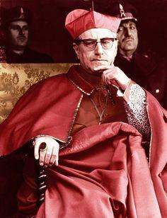 Giuseppe Cardinal Siri. Roman Catholic Church. Vestments. Clerical wear. Biretta. Cassock