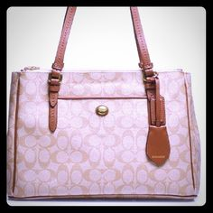 Traditional Coach logo tote, brown leather & tan Classic coach bag! These never go out of style. Coach Bags Totes