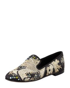 Embroidered+Crystal+Dragon+Loafer,+Black+by+Giuseppe+Zanotti+at+Bergdorf+Goodman.
