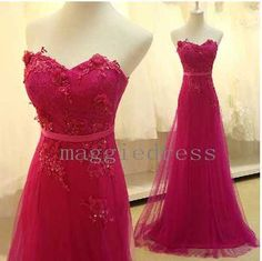 Elegant Long Red Sweetheart Applique A Line Tulle Party Grown Prom Dresses,2014 New Fashion Trend Party Dresses,Bridesmaid Dresses,Homecoming Dresses $148.00