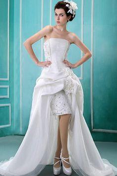 White Organza Strapless Bridal Dress - Order Link: http://www.theweddingdresses.com/white-organza-strapless-bridal-dress-twdn0479.html - Embellishments: Applique , Flower , Sash , Sequin; Length: Court Train; Fabric: Organza; Waist: Natural - Price: 146.96USD