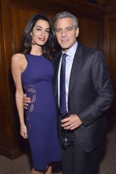 Remembering together: George Clooney was joined by his human rights attorney wife Amal Clooney at the 100 Lives Initiative in New York on Tuesday Christian Dior Vintage, Fashion Night, Look Fashion, Office Fashion, Fashion Photo, Fashion News, Amal Alamuddin Style, George Clooney Amal Alamuddin, Cutout Dress