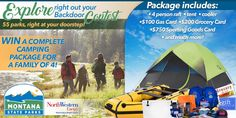 Win a complete camping package for a family of 4! Package includes: 4 Person Raft, Tent, Cooler, $100 Gas Card, $200 Grocery Card, $750 Sporting Goods Card, And Much More!!!