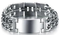 Wide Heavy Stainless Steel ID Link Bracelet Polished Finish Double Curb Chain Men Women 22.5mm
