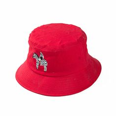 Red Cotton Bucket Embroidery Hat Wholesale The MOQ is per design/color/style,the sample fee is price depend on quantity,metarial and sedign. Hat Embroidery, Bucket Cap, Design Color, Applique, Fashion Accessories, Fishing, Hats, Cover, Cotton