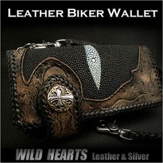 Stingray Biker wallet Carved wallet Cowhide Handcrafted Custom HandmadeWILD HEARTS Leather&Silver  http://item.rakuten.co.jp/auc-wildhearts/lw0868/