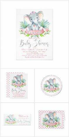 Girl Elephant Baby Shower with adorable baby girl elephant on a pretty palm leaf and polka dot background. This cute elephant baby shower invitation design is easily customized for your event and has coordinating pieces.