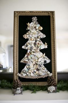 Christmas tree made from vintage buttons and baubles
