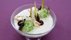 Hartige panna cotta van Roquefort, luikse siroop, avocado en chili popcorn | VTM Koken