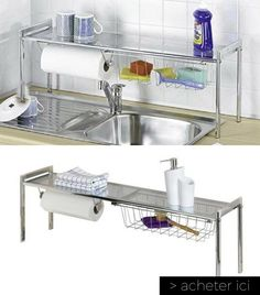 Details about safety bar dish drying rack drainer dryer suspended shelf kitch - Cuisine gain de place ...