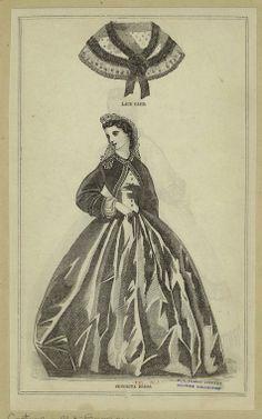 In the Swan's Shadow: Senorita dress lace cape. Peterson's Magazine, 1863