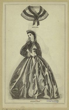 In the Swan's Shadow: Senorita dress & lace cape. Peterson's Magazine, 1863