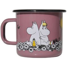Muurla Moomin Retro Mug - Together Forever ($22) ❤ liked on Polyvore featuring home, kitchen & dining, drinkware, fillers, pink, enamel mug and pink mug