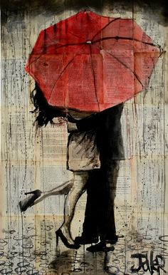 "Wishing I had someone to kiss under an umbrella haha (Loui Jover; Pen and Ink, Drawing ""the red umbrella"") Red Umbrella, Oeuvre D'art, Love Art, Painting & Drawing, Love Painting, Sunrise Painting, Couple Painting, Drawing Artist, Painting Lessons"