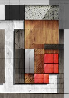 Graphic composition based on selected interior on the Behance Network. sketch, interior design, drawing, architecture