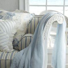 lovely blue ticking sofa