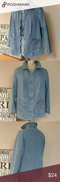 """Roamans PLUS SZ DENIM coat lt denim colored jacket in very good used condition. Cute scalloped detail on sleeves. Hem and front. Unlined. 100% cotton.   Bust 24"""" across, length shoulder to hem 29"""". 24"""" across middle, 24"""" across hips all flat measured.   Women sized. Roamans Jackets & Coats Jean Jackets"""