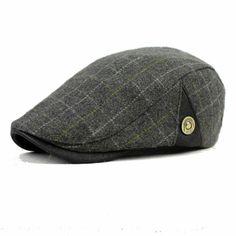 Male Wool Blend Grid Blank Newsboy Beret Cap Thick Winter Flat Cowboy Cabbie Hat