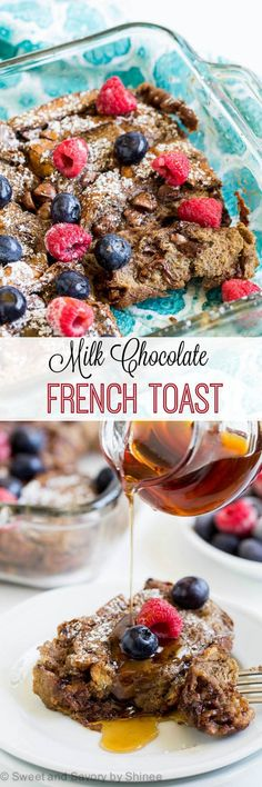 Treat your overnight guests with these double chocolate baked french toast casserole. It's a delicious make-ahead breakfast to enjoy on a lazy morning. | Sweet & Savory