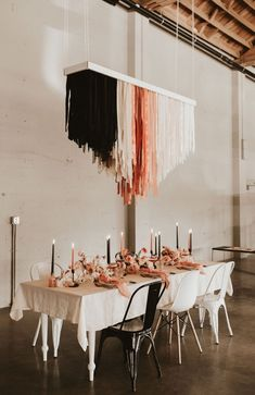 Modern Coral Inspired Bridal Shoot at an Industrial Portland OR Venue Hanging Wedding Decorations, Decoration Table, Lilac Wedding, Floral Wedding, Boho Wedding, Autumn Wedding, Dream Wedding, Yarn Chandelier, Lila Party