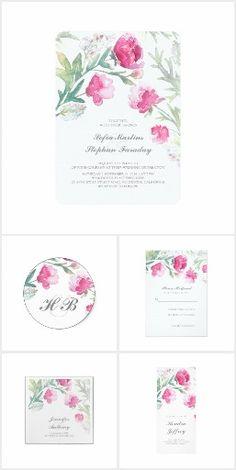 Peonies Romantic Watercolor Wedding Collection