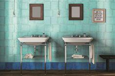 Des faïences délicates pour une salle de bains rétro