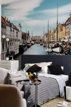 Colourful Canal in Copenhagen Wall Mural