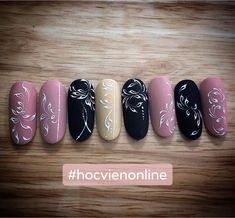 Nail Art Designs Videos, Gel Nail Designs, Line Nail Art, Cool Nail Art, Monogram Nails, Dope Nails, My Nails, Swirl Nail Art, Vintage Nails