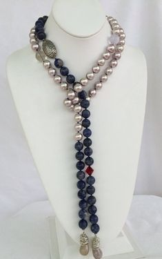 Sodalite Pearl Lariat, 53 inch, hand knotted shell pearl, blue sodalite with sterling silver findings and toggle Beaded Rings, Beaded Necklace, Beaded Bracelets, Beaded Jewellery, Custom Jewelry, Unique Jewelry, Indian Jewelry, Diy Jewelry, Beaded Jewelry Patterns