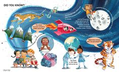 Non-fiction children's book spread. Fun facts for kids (and their adults). Children's Book Illustration, Digital Illustration, Book Cover Design, Book Design, Facts For Kids, Fun Facts, Sketchbook Inspiration, Childrens Books, Character Design