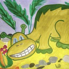 КАК ПОДРУЖИТЬСЯ С ДИНОЗАВРОМ  Динозавр огромного роста! Приручить динозавра непросто. Ты от пуза его накорми, Ты, как друга, его обними! И, поверь, я совсем не шучу — Он вдруг скажет: «Садись! Прокачу!»   Олег Фалько  http://www.stihi.ru/2017/07/15/5458 Рисунок: Алёна, 5 лет, г. Хабаровск  #ChildBookCase #КнижныйШкафДетям #КШД_НовыеАвторы #КШД_Поэзия #КШД_ФалькоО #КШД_от0 #поэзия #стихи