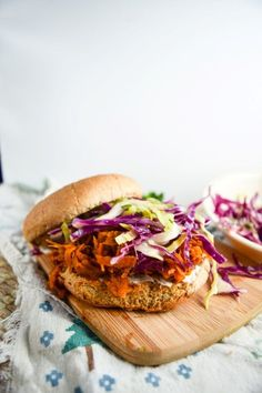 "BBQ pulled sweet potato sandwiches: shredded ""pulled"" sweet potato simmered until tender in savory BBQ sauce, with all the fixin's."