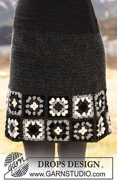 Free granny square-edged crocheted skirt pattern from 20 Popular Free Crochet Skirt Patterns for Women from DROPS Design Skirt Pattern Free, Crochet Skirt Pattern, Crochet Skirts, Granny Square Crochet Pattern, Crochet Granny, Crochet Clothes, Crochet Stitches, Crochet Patterns, Free Pattern