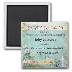 Shop Alice in Wonderland Save The Date Baby Shower Magnet created by GroovyGraphics. Tea Party Baby Shower, Baby Boy Shower, Baby Showers, Baby Shower Supplies, Baby Shower Themes, Shower Ideas, Tea Party Theme, Baby Shower Desserts, Save The Date Magnets