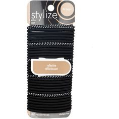 Shop for No Snag Reflective Elastics, Black by Stylize Luxury Beauty, Hair Ties, Metal, Lipstick, Shopping, Black, Products, Hair, Ribbon Hair Ties
