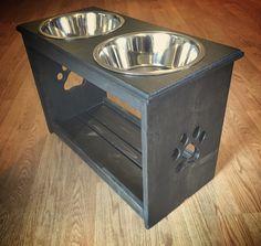 """15""""-24"""" Large Raised Dog Feeder - Elevated Feeding Station"""