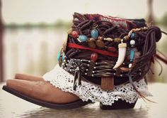 upcycled boho cowboy boots custom made by TheLookFactory on Etsy