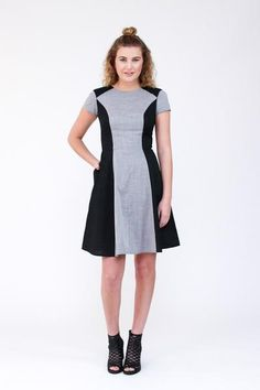 Multi paneled dress with distinctive style lines and close fit. Pattern features princess seams, flared skirt, anchored side seam pockets, short sleeves, centre